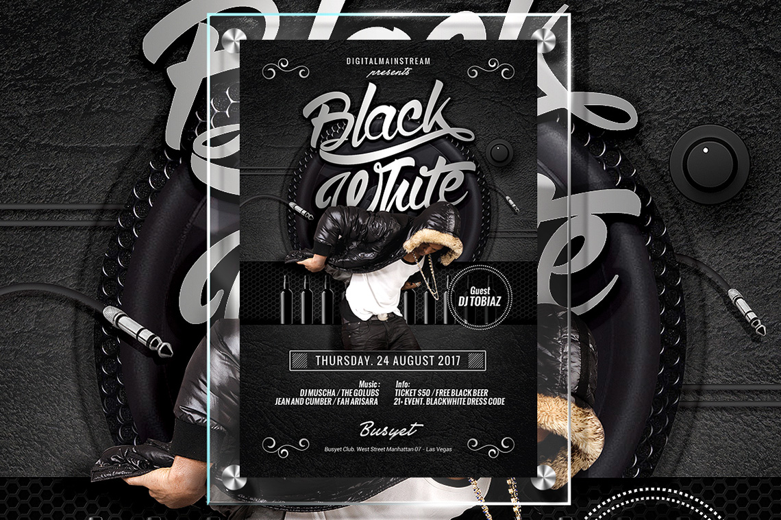 Free Black And White Club Flyer Template Plus Bonus Music Denny Busyet - Black and white flyer template free
